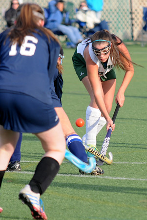Amesbury: Pentucket's Erin Mikson advances the ball against Hamilton-Wenham during their game at Amesbury Sports Park Friday. Jim Vaiknoras/staff photo
