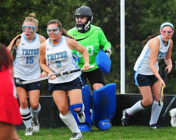 BRYAN EATON/Staff Photo. Triton goalie Erin Savage.
