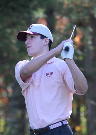 JIM VAIKNORAS/staff photo newburyport's Ben Ventura tees off at the River Rivals tournament at New Meadows in Topsfield Monday.