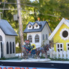 JIM VAIKNORAS/staff photo Small houses  made by Jack Davidson at the Union Congragational Church representing houses on the Point  Shore in Amesbury.