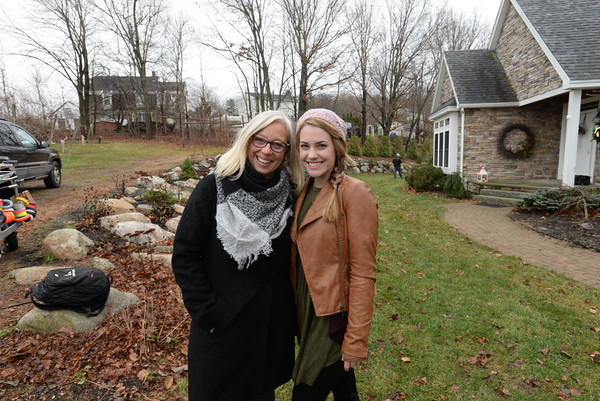 "BRYAN EATON /Staff photo  Amesbury's Karen Cook and star Anna Fricks on teh set of ""A Christmas Wish"" in Amesbury last December."