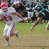 JIM VAIKNORAS/STAFF photo Masco's Tim Beliveau breaks a tackle against Pentucket at Pentucket Saturday.