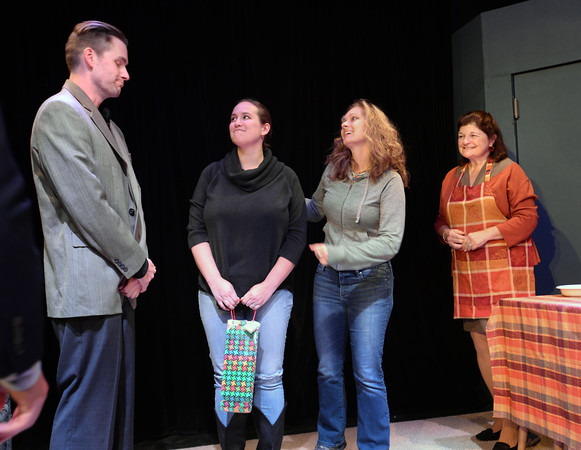 BRYAN EATON/Staff photo. Kristen Clohesey introduces Betsy Monk as Jade to Josh Paradis as Winky as the mother Grace, played by June Kfoury looks on.
