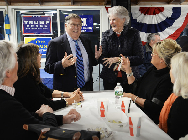 BRYAN EATON/Staff photo. Former New Hampshire governor John Sununu and wife Nancy chat with attendees to the Republican Rally at Brown's Lobster Pound.
