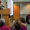"BRYAN EATON/Staff photo. Former WCVB news reporter Kelley Tuthill speaks about her days a the television station and her survival of cancer. She was guest speaker at the ""Celebrating Survival"" event at Nicholson Hall and sponsored by the Anna Jaques Hospital, Institution for Savings and the Greater Newburyport Chamber of Commerce and Industry."