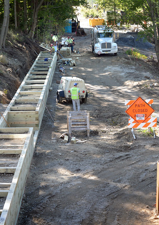 BRYAN EATON/Staff photo. Work around various parts of the new section of Rail Trail running from Parker Street in Newburyport to the waterfront is well under way, here in a view from High Street looking south.