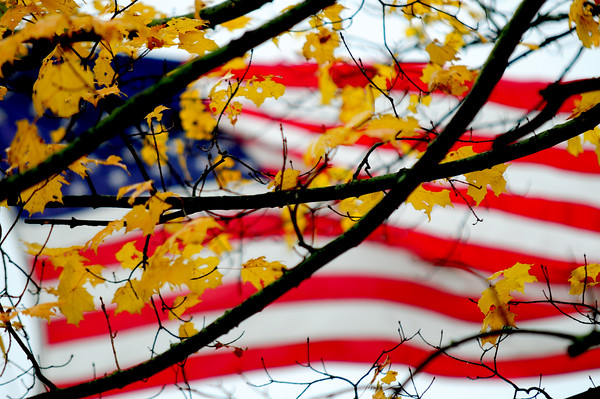JIM VAIKNORAS/Staff photo The Flag waves on a cold October day behind changing leaves at the Union Cemetary in Amesbury.