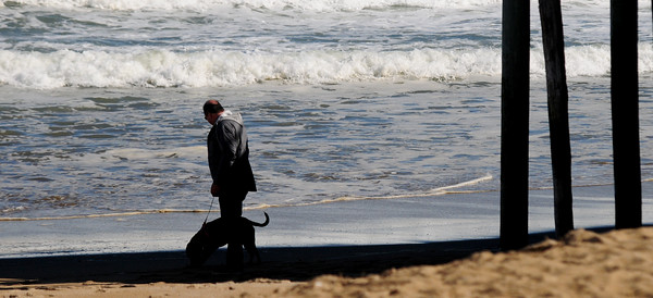 JIM VAIKNORAS/Staff photo A man takes his dog for a stroll along Salisbury Beach in the late afternoon sunshine.