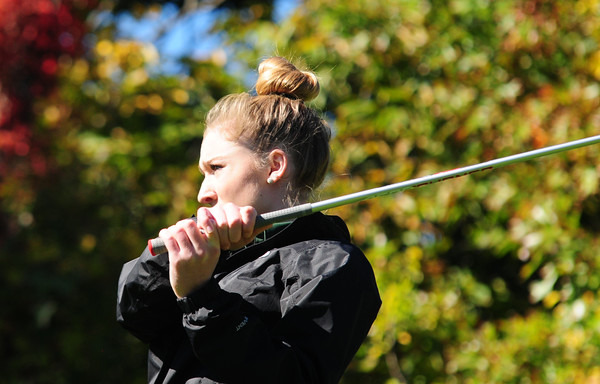 JIM VAIKNORAS/staff photo Pentucket's Olivia Sheehan tees off at the 1st at Old Newbury during River Rivals Golf Tournament.