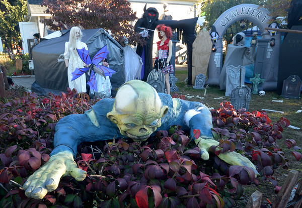 JIM VAIKNORAS/Staff photo Halloween decorations on Tilton Street in Newburyport.