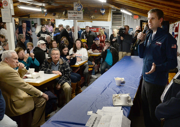 BRYAN EATON/Staff photo. Eric Trump stumps for his father, presidential GOP candidate Donald Trump at Brown's Lobster Pound in Seabrook last night.