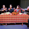 "BRYAN EATON/Staff photo. In ""Thanksgiving Prayer"" the actors toast, from left, Kristen Clohesey, Betsy Monk as Jade; Josh Paradis as Winky; June Kfoury as Grace, the mother; Alan Huisman as Bill the father and Will Poli as Scott."