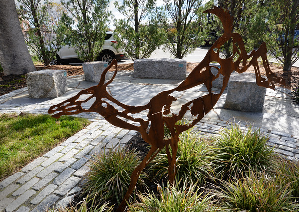 """BRYAN EATON/Staff photo. """"Shadow Migrations: Shadow Deer"""" by Wendy Kemperer. 10/25/16"""