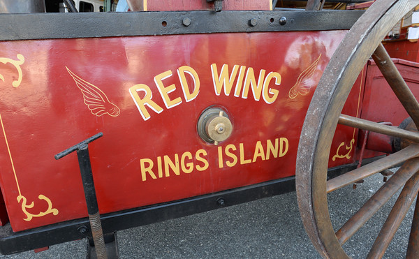 BRYAN EATON/Staff photo. The handtub pump Red Wing was built in 1826.