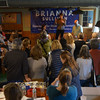 JIM VAIKNORAS/Staff photo About 50 people joined Attorny General Maura Healy as she endorces Brianna Sullivan at Flat Breads in Amesbury Saturday.