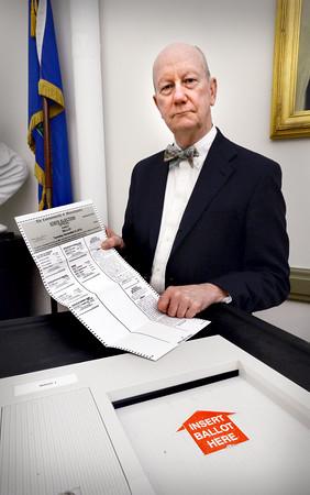 BRYAN EATON/Staff photo. Newburyport city clerk Richard Jones said he is confident in the security of city's voting system.