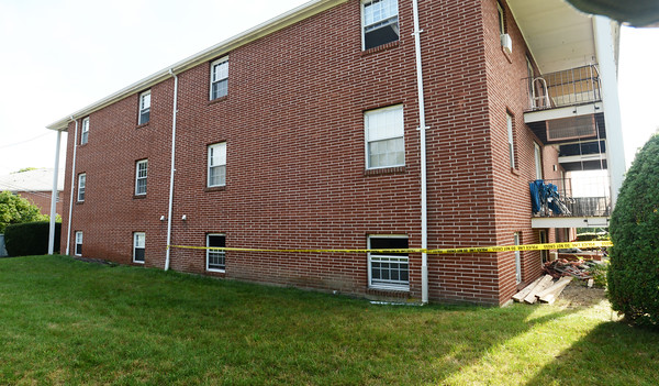 BRYAN EATON/Staff photo. A 63-year-old man died in an early morning blaze in this first floor unit at Governor Weare Apartments on Route One in Seabrook.