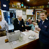 BRYAN EATON/Staff photo. Eric Trump tries some seafood chowder at Brown's Lobster Pound in Seabrook last night.