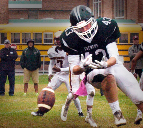 BRYAN EATON/Staff photo. Pentucket's Stevie Noyes comes up short on a pass.