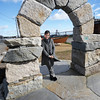 BRYAN EATON/Staff photo. Elena Bachrach shows the new sculpture park open behind Newburyport Art Association. 10/25/16