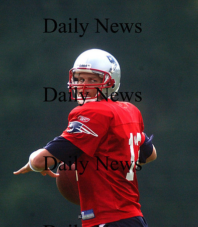 Foxboro:<br /> Quarterback Tom Brady prepares to deliver a pass to one of his wide recievers at Patriots training camp today.<br /> Photo by Ben Laing/Eagle-Tribune Friday, July 27, 2007