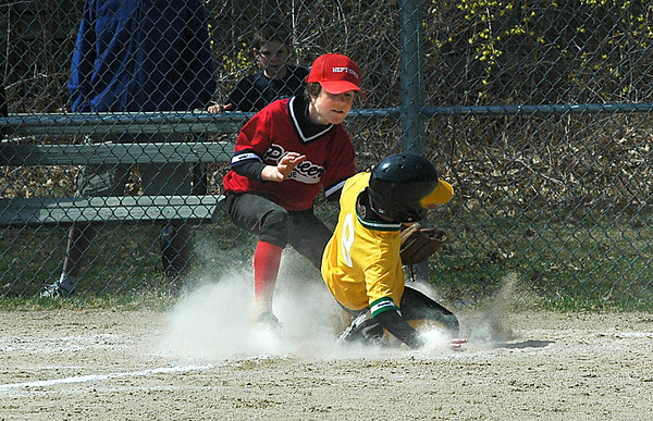 Newburyport:Caleb Stott of the Neptunes gets the  tag down a bit late as Ben Appliance Warehouse scores during a game on the 50th Opening Day of the Pioneer League Saturday.<br /> Photo by Jim Vaiknoras/Newburyport Daily News Sunday, April 20, 2008