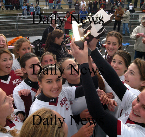 Acton:  Newburyport player celebrate their victory over Ipswich in the Div 3 North Final at Acton-Boxborough high Monday. Newburyport beat Ipswich 6-1.<br /> Photo by Jim Vaiknoras/Newburyport Daily News Monday, November 12, 2007