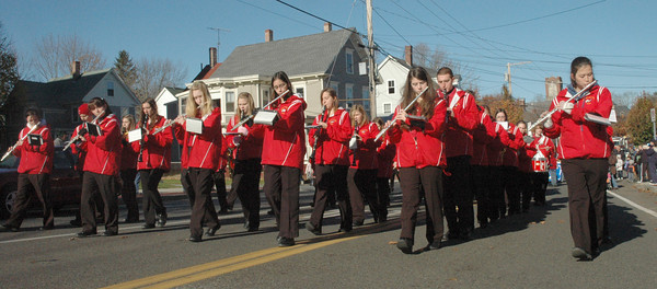 Amesbury:<br /> The Amesbury High School Marching Band provided yesterday's music during Veterans Day exercises in downtown Amesbury. <br /> Dave Rogers/Staff photo