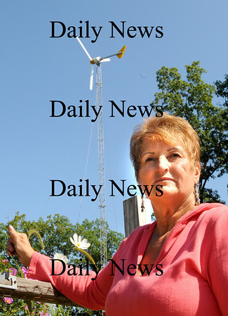 Newbury:<br /> Janet Fraser's wind turbine off Route One in Newbury is not generating the electicity as hoped.<br /> Photo by Bryan Eaton/Newburyport Daily News Wednesday, September 03, 2008