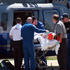 Newburyport: A gunshot victim with an apparent wound to the head was taken from Anna Jaques Hospital via helicopter Monday morning. Photo by Ben Laing/Staff Photo