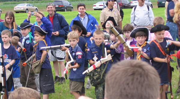 Newbury:Local Boy scouts and cub scouts  shoot marshmallows from their revolutionary style guns, in what was believed to be the world's largest marshmallow fight, yesterday afternoon, at Spencer Pierce Little Farm in Newbury.  Katherine Landergan/Staff photo