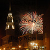 Newburyport:Saturday nights fireworks explode over Newburyport behind the Uniterian Church on Pleasant Street.<br /> Photo by jim Vaiknoras/Newburyport Daily News Sunday, August 06, 2006