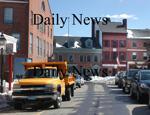 Newburyport: View down Pleasant Street toward State Street with the Grand Army Building, now Page Insurance.<br /> Photo by Jim Vaiknoras/Newburyport Daily News. Tuesday, March 20, 2007