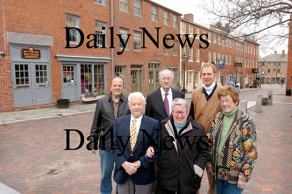 Newburyport: <br /> Those involved in various roles in the renovation of Inn Street appear at the same spot 35 years later. Back from left, Chris Snow, former mayor Richard Sullivan and Jonathan Woodman. Front, from left, Swift Barnes, Betsy Woodman and Maureen Sullivan.<br /> Photo by Bryan Eaton/Newburyport Daily News. Monday, April 30, 2007