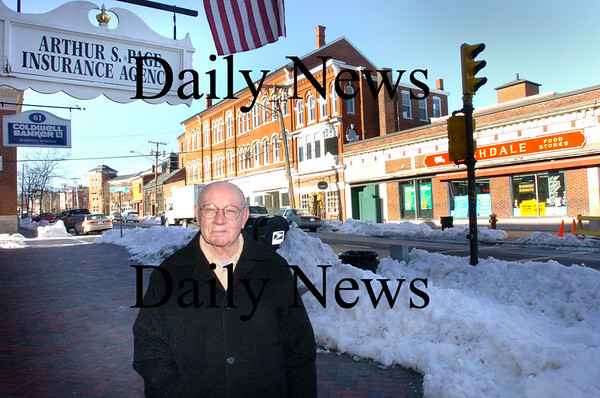 "Newburyport: <br /> Arthur S. ""Bill"" Page who renovated his insurance company building before urban renewal at the same spot today.<br /> Photo by Bryan Eaton/Newburyport Daily News. Wednesday, March 21, 2007"