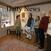 Newburyport: Members of the Newburyport Art Association mimic a photo from 1970 before renovations. From the left: Gallery director Carol Reynolds, Excectutive Director Dean Wills, President Monica Welch, past president Skip Motes, and past president Susan Spellman in the main gallery of the Association's building on Water Street.<br /> Photo by Jim Vaiknoras/Newburyport Daily News. Wednesday, April 4, 2007