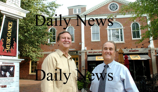 Newburyport: <br /> Firehouse  Center director Greg Smith, left, with Pete Kelley who was a driving force for turning the old fire station into the arts center and restaurant that now occupy the building.<br /> Photo by Bryan Eaton/Newburyport Daily News. Friday, August 24, 2007
