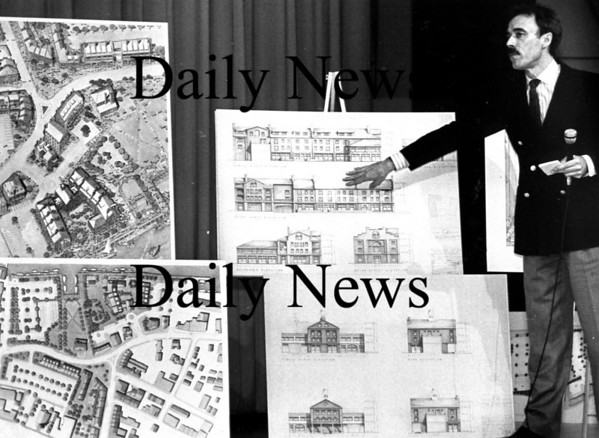 Newburyport: <br /> Many plans were proposed for Newburyport's waterfront, some presented here by Stanley Neilsen.<br /> Photo by Handout/Newburyport Daily News. Thursday, August 16, 2007