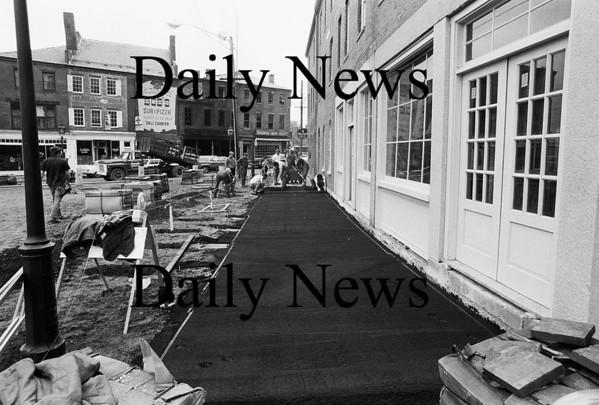Newburyport: market Square paving. Feb 1971<br /> Photo by Urban Renewal/Newburyport Daily News. Thursday, April 26, 2007