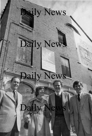 Newburyport: Chris Snow, third from the left, in font of the Bowling ally building.<br /> Photo by Urban Renewal/Newburyport Daily News. Monday, April 23, 2007