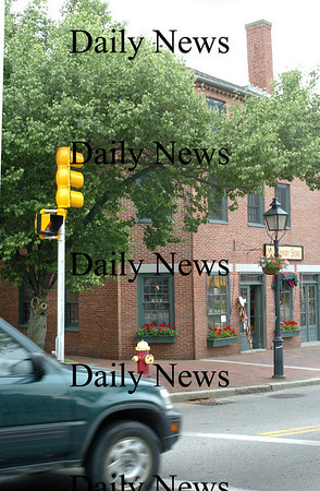 Newburyport: <br /> Site of Bossy Gillis' gas station in Market Square at the stop light, with Firehouse Center out of view to the left.<br /> Photo by Bryan Eaton/Newburyport Daily News. Thursday, May 31, 2007