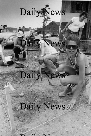 """Newburyport: """"The Dig"""" students look for artifacts  along Wate Street June 1977.<br /> Photo by Urban Renewal/Newburyport Daily News. Sunday, April 15, 2007"""