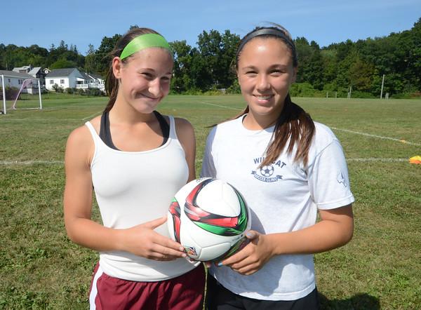 JIM VAIKNORAS/Staff photo Newburyport Girls Soccer captains Sammi Lor and Erin Filetti.