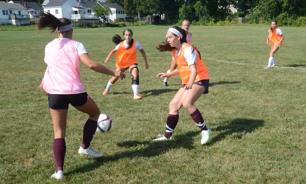 JIM VAIKNORAS/Staff photo Newburyport Girls Soccer practice at Fuller Field.