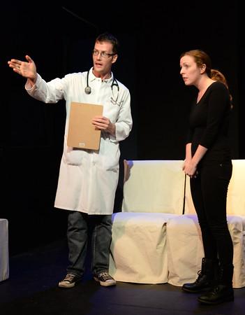 BRYAN EATON/Staff Photo. Michael Johnson as the head nurse with Rachel Sacks as Lisa Kron.