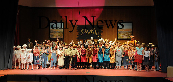 Newbury: The cast of Sarspaprilla and Pearls takes a bow at their dress rehearsal at the Newbury Elementary School.Jim Vaiknoras/Staff photo