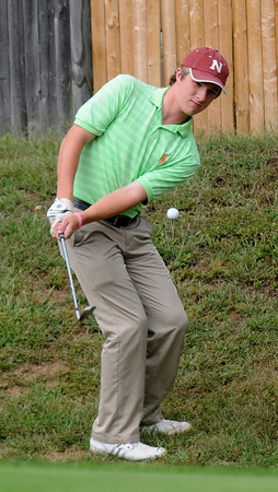 Topsfield: Newburyport High golfer Brendan Crowther at New Meadows. Jim Vaiknoras/staff photo