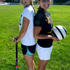 newburyport: Sisters Emma, on left who is on the Newburyport high field hockey team  and Delaney Bartol, who plays for the Newburyport soccer team. at War Memorial Stadium. Jim Vaiknoras/staff photo