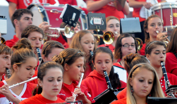 Amesbury: The Amesbury high band performs as the Indians take on the Triton Viking at Landry Stadium in Amesbury Friday night. Jim Vaiknoras/staff photo
