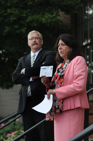 newburyport: Mayor Donna Holaday and challenger Richard Sullivan Jr give a news conference at Newburyport City Hall concerning an anonymous letter sent to residence late last week. Jim Vaiknoras/staff photo